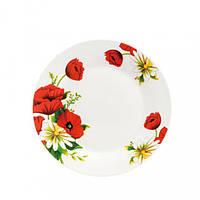 Тарелка круглая мелкая 7* Полевой мак и ромашки 175 мм