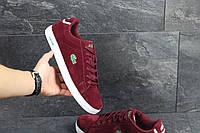 Мужские кроссовки кеды lacoste красные замшевые