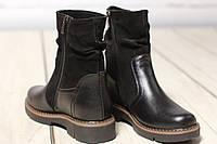 Женские кожаные замшевые ботинки полуботинки TIFFANY на низком каблуке подошва с шипами, фото 1