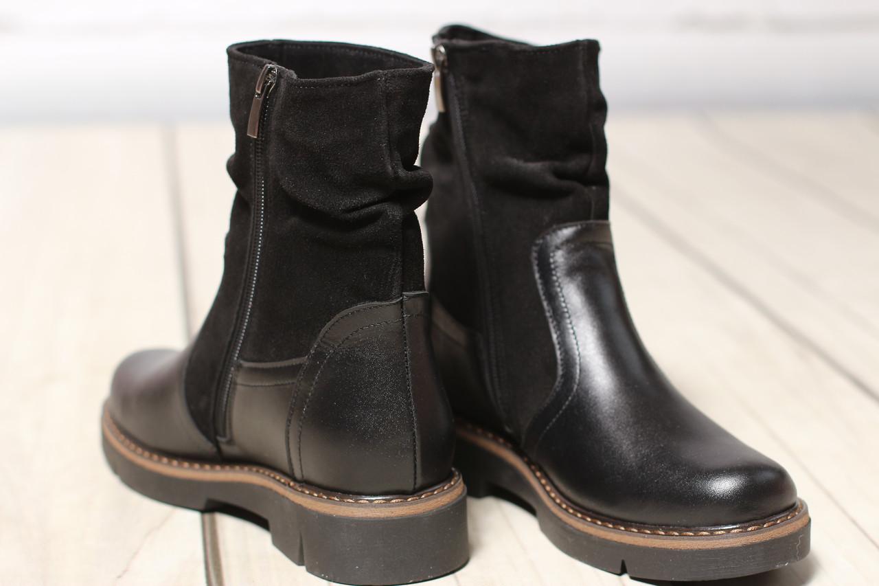 Женские кожаные замшевые ботинки полуботинки TIFFANY на низком каблуке подошва с шипами
