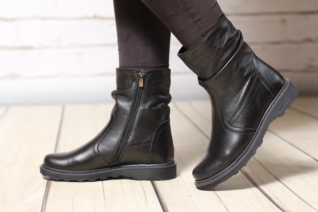 Женские кожаные замшевые ботинки полуботинки TIFFANY на низком каблуке
