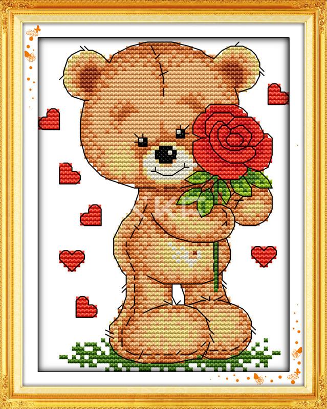 Медвежонок с розой Набор для вышивания крестиком с печатью на ткани 14ст