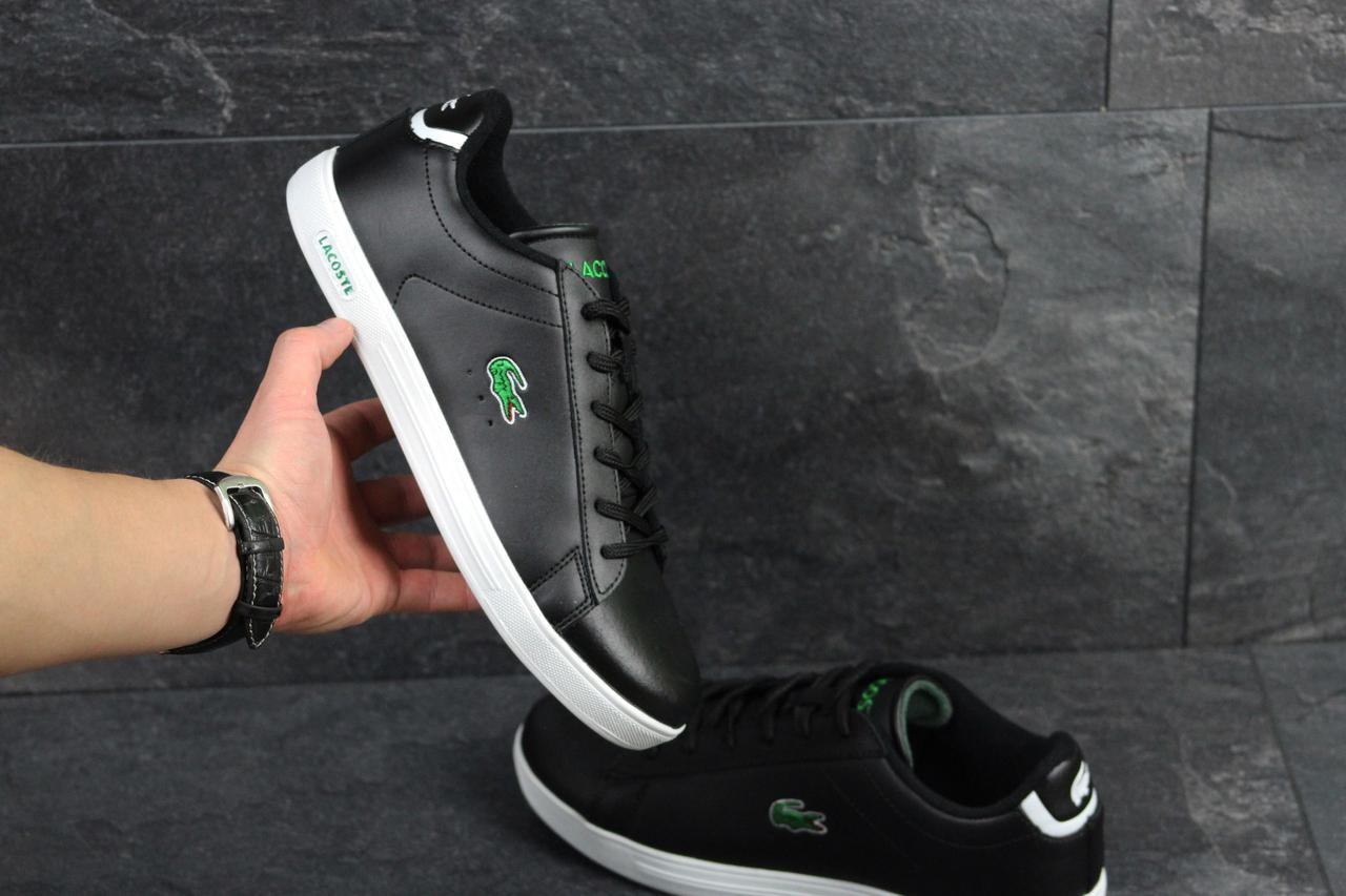 Мужские кроссовки кеды lacoste черные с белым кожаные (Реплика ААА+) -  bonny- b8c0ba2cd3b