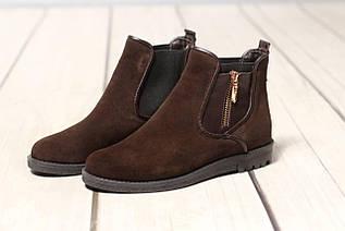 Жіночі замшеві черевики шкіряні напівчеревики челсі TIFFANY на низькому каблуці