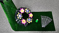 Комплект для облагораживания могил №2 (трава+скобы+лампадка+веночек)