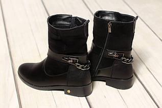 Жіночі замшеві черевики шкіряні напівчеревики TIFFANY на низькому каблуці з ланцюгом