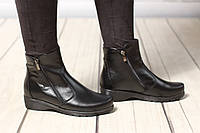 Женские кожаные ботинки полуботинки TIFFANY на низком каблуке, ПЛАТФОРМЕ РАЗМЕР ДО 42!, фото 1