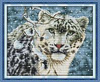 Снежный барс D529 Набор для вышивки крестом с печатью на ткани 14ст