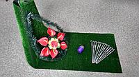 Комплект для облагораживания могил №3 (трава+скобы+лампадка+веночек)
