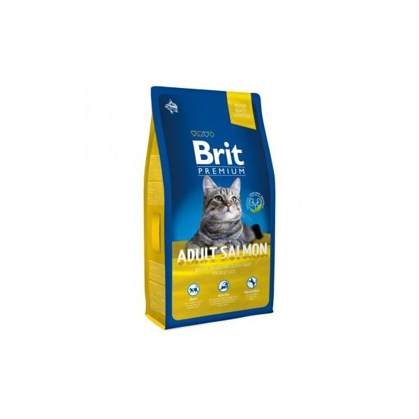 Корм для котов Brit Premium Cat Adult Salmon 800 г, брит для взрослых кошек и котов с лососем