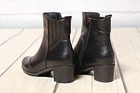 Женские кожаные ботинки полуботинки TIFFANY на низком  среднем каблуке с резинкой, фото 1