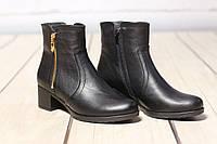 Женские кожаные ботинки полуботинки TIFFANY на низком  среднем каблуке, фото 1