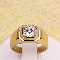 002-2823 - Позолоченное кольцо с прозрачным фианитом, 16.5 р