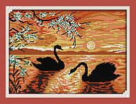 Лебеди на озере D607 Набор для вышивки крестом с печатью на ткани 14ст