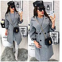 Модное пальто в стиле милитари . Серый, фото 1