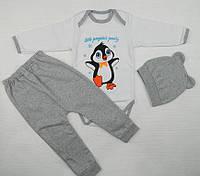 Детский теплый комплект с начесом: боди, штанишки и шапочка
