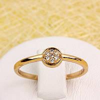002-2826 - Позолоченное кольцо с прозрачными фианитами, 17.5 р