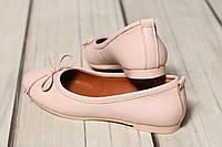 Женские кожаные балетки туфлиTIFFANY на низком каблуке, фото 1
