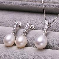 Комплект с жемчугом покрытие серебро (подвеска и серьги) 115