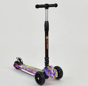 Детский трехколесный самокат Scooter Print 7505 Колеса светятся. Нагрузка 100 кг