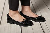 Женские кожаные балетки туфлиTIFFANY на низком каблуке
