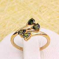 R1-2829 - Позолоченное кольцо с оливково-зелёными фианитами, 17, 18 р