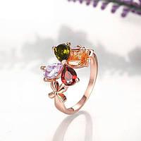 Кольцо позолоченное ювелирная бижутерия 750, фото 1