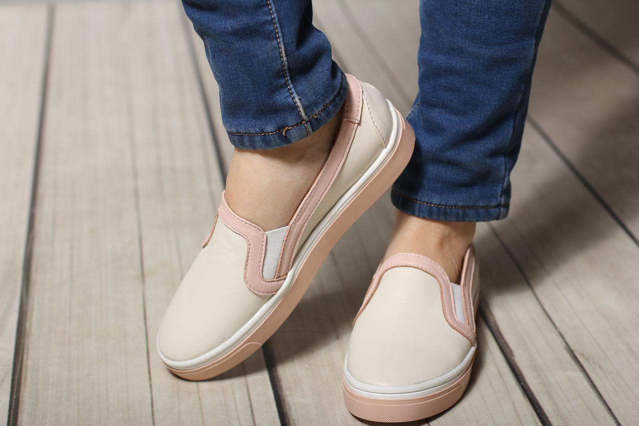 Женские кожаные балетки туфли слипоны TIFFANY