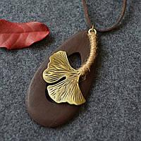 Подвеска кулон ювелирная бижутерия бронза, дерево, кожа 3139
