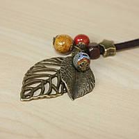 Подвеска кулон ювелирная бижутерия бронза, керамика, кожа 3125-б