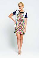 Летние платье вышиванка с принтом