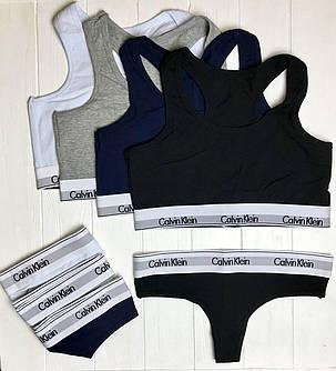 Женский комплект Calvin Klein: стринги и топ 4 цвета реплика, фото 2