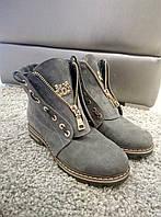 Женские ботинки под тимберленд натуральная замша с лазерным напылением  зима