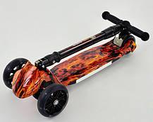 Детский трехколесный самокат ОГОНЬ. Складной руль.Колеса светятся. Scooter Print 24720, фото 2