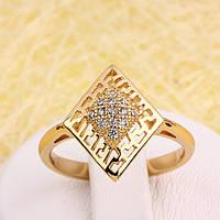 R1-2836 - Позолоченное кольцо с прозрачными фианитами, 18 р