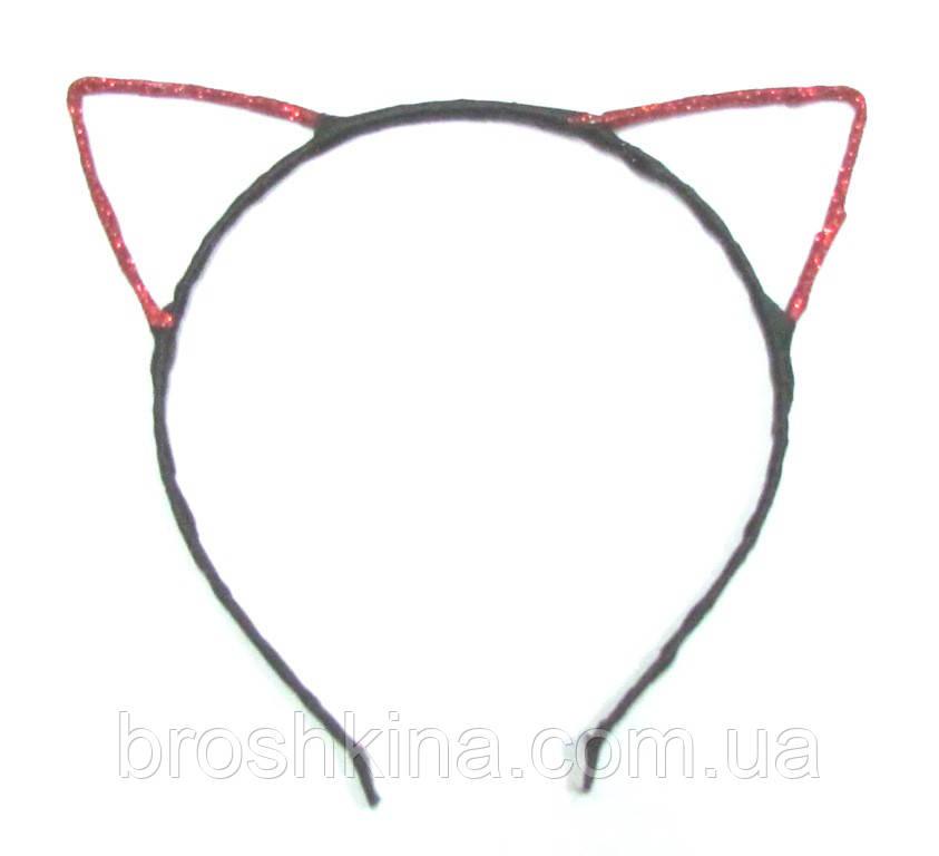 Обруч для волос металл Красные ушки