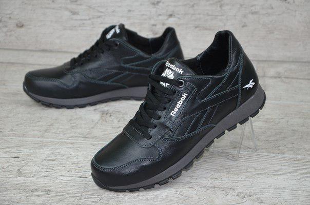 Мужские кожаные кроссовки Reebok Classic черные топ реплика
