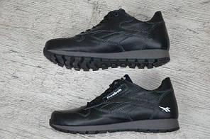 Мужские кожаные кроссовки Reebok Classic черные топ реплика, фото 2