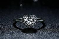 Серебряное кольцо PANDORA - сердце паве 100%КАЧЕСТВО!