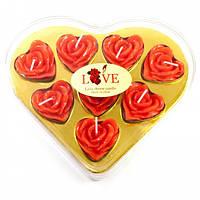 """Свечи """"Сердечки"""" (8 шт) красные (16,5х14х2,5 см)"""