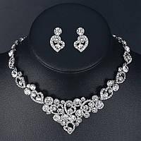 Весільний набір ювелірна біжутерія сріблення 4727с-б