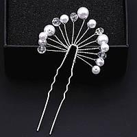 Свадебная шпилька с жемчугом ювелирная бижутерия посеребрение 4747с, фото 1