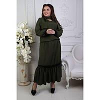 Костюм женский большого размера  (юбка+блузка+шарф) ЕКУ-1351 хаки