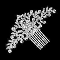Весільний гребінь ювелірна біжутерія сріблення 4774с