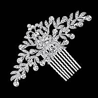 Весільний гребінь ювелірна біжутерія сріблення 4774с, фото 1