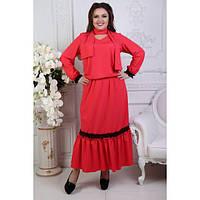 Костюм женский большого размера  (юбка+блузка+шарф) ЕКУ-1351 красный