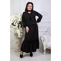 Костюм женский большого размера  (юбка+блузка+шарф) ЕКУ-1351 черный