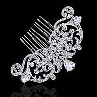 Весільний гребінь ювелірна біжутерія сріблення 4775с-а