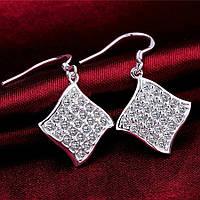 Сережки крапельки ювелірна біжутерія сріблення 1553, фото 1