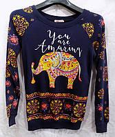 Батник женский весна-осень Слоны (размер универсал 42/46) (цвет темно-синий) Турция СП